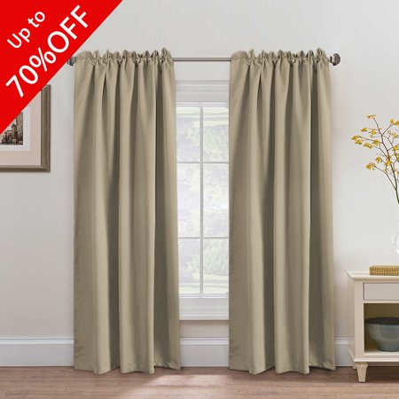 Premium Blackout Curtains 2 Panels, Thermal Insulated Back Tab / Rod Pocket Panels for Baby Girls Bedroom, Energy Saving Window Panel Drapes - 52x84 Inch - Khaki Large Premium Flat Panel