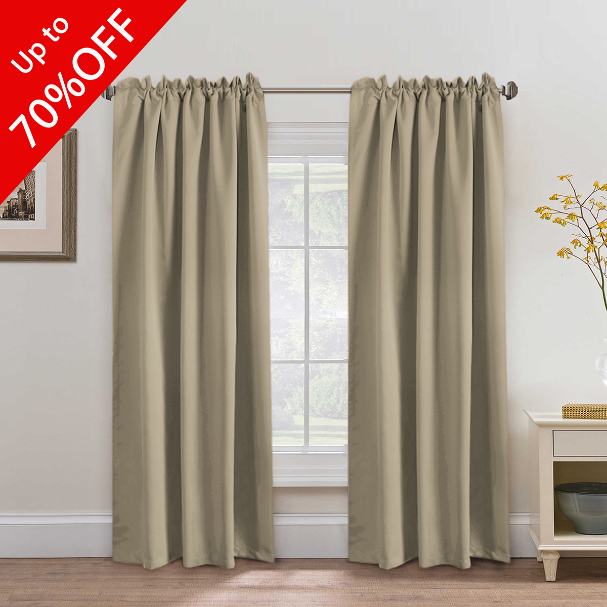 Product Image Premium Blackout Curtains 2 Panels, Thermal Insulated Back  Tab / Rod Pocket Panels For Baby
