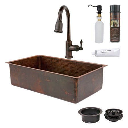 Premier copper products ksp2 ksdb33199 single basin drop in undermount sink with faucet - Walmart kitchen sinks ...