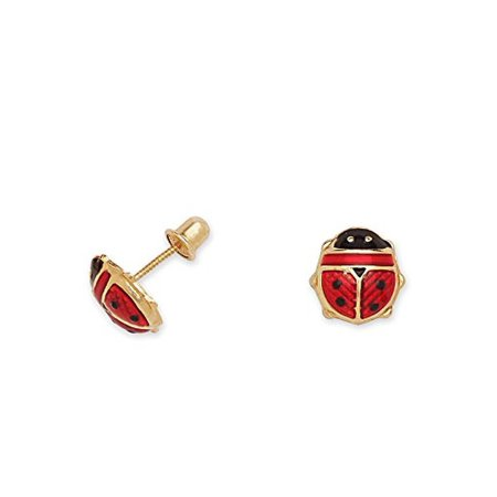 14k Yellow Gold And Red Enamel Ladybug Baby Earrings In Secure Safety Backs