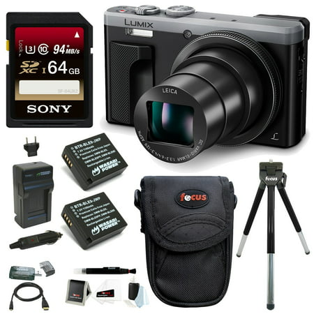 Panasonic Lumix DMC-ZS60 4K Digital Camera (Silver) w/ 64GB SD Card & Battery Pack Bundle