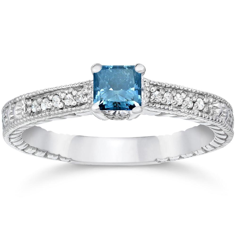 Pompeii3 1/2ct Princess Cut Antique Treated Blue Diamond ...