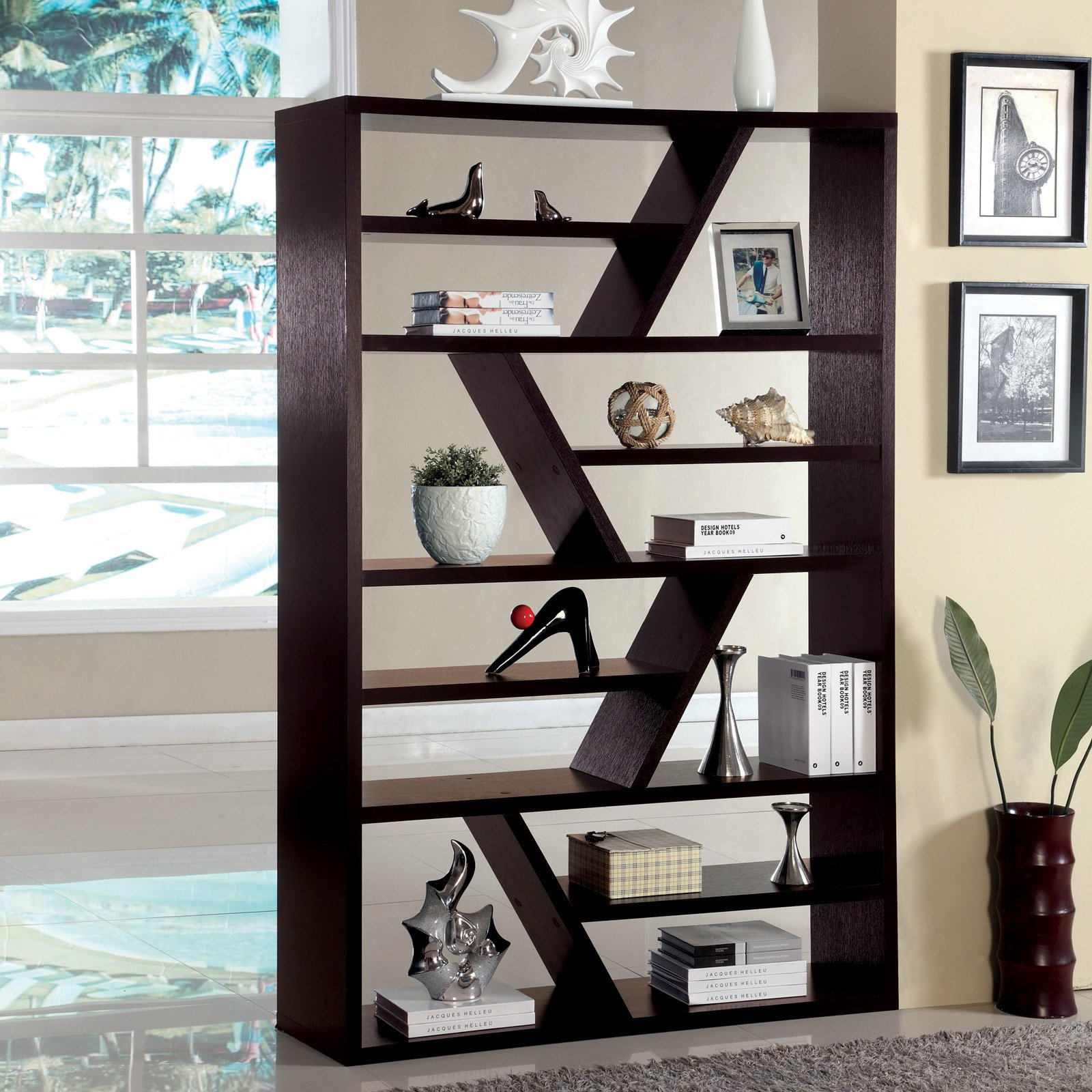 Furniture of America ZigZag Open Back Display Stand Espresso by Enitial Lab