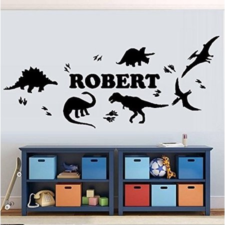 Decal ~ Dinosaurs and Dinosaur Tracks/with (Custom Name) Children's Wall Decal (Med. 13