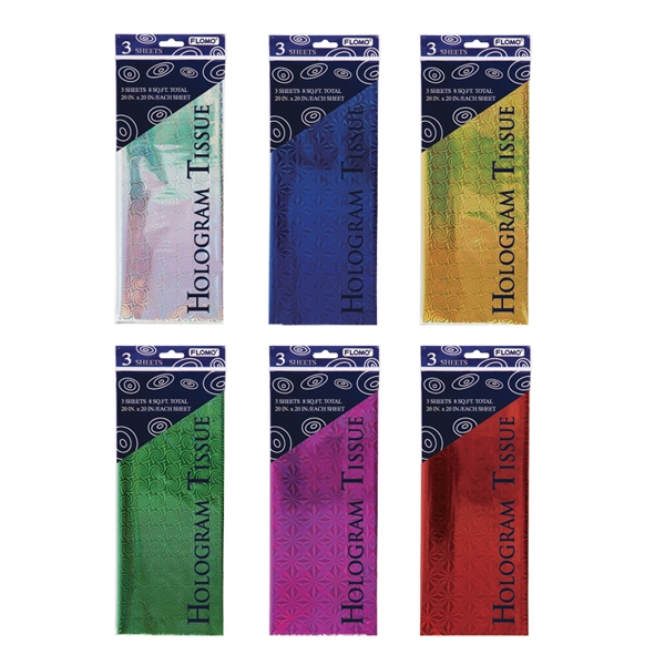 Hologram Tissue 3 Sheets 6 Colors/Case of 96