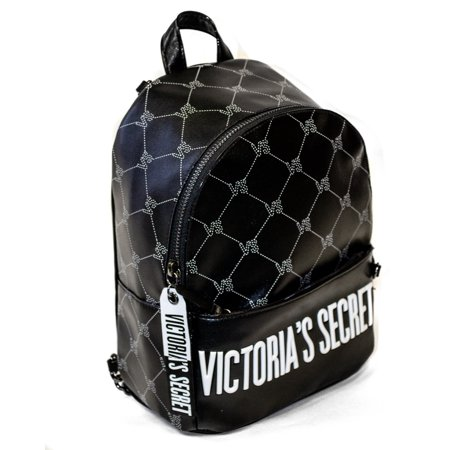 Victoria's Secret Mini Backpack; Internal Pocket and External Zippered Pocket, Fob with Lip Prints on front and