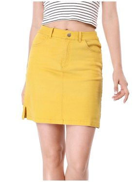 f43ee45c57 Product Image Women's Business Zip Fly Split Sides Above Knee Straight Skirt  Dress. Product Variants Selector. Yellow
