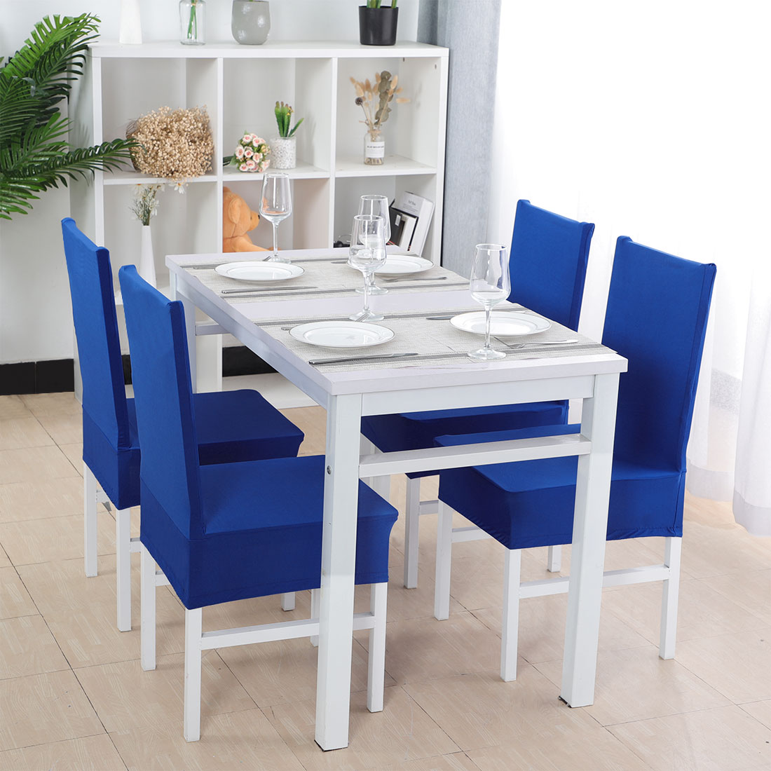 PiccoCasa Stretch Spandex Dining Chair Covers Set of 4, Solid Color