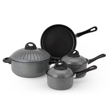 Non Stick Carbon Steel 7 Piece Cookware Set Blue Walmart Com