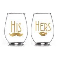 Better Homes & Gardens His & Hers Stemless Wine Glasses Set