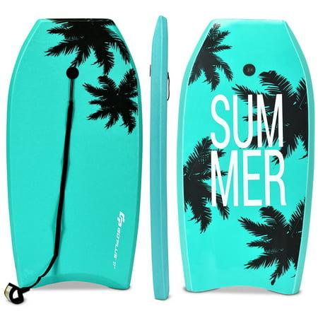 Goplus 37'' Lightweight Super Bodyboard Surfing W/Leash IXPE Deck EPS Core Boarding