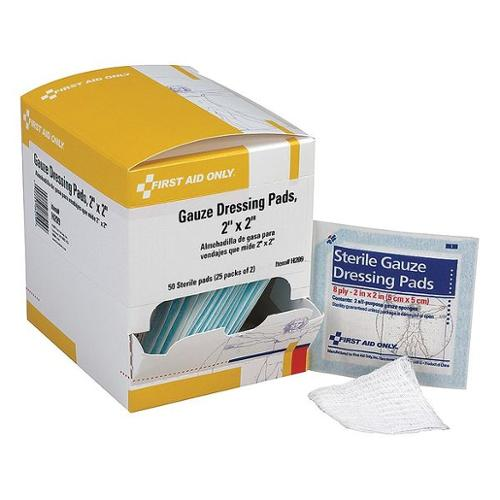 FIRST AID ONLY H209 Gauze Pad, Sterile, 2 x 2 In, PK50