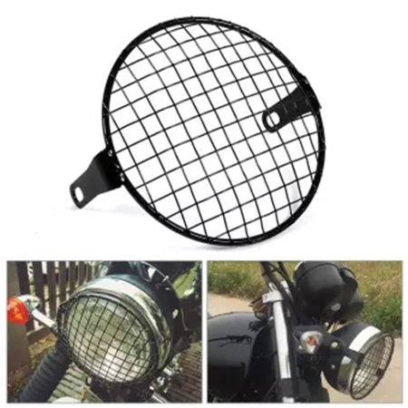 Black Retro Cover Shield Shade Grilling Lid Cover For Motorcycle Headlight - image 4 de 6