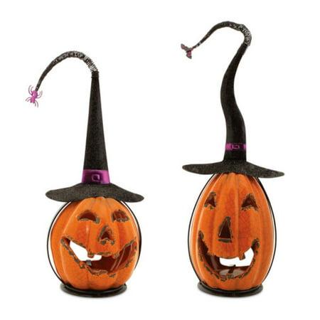 Set of 2 Scary Orange Crackle Finish Halloween Jack-O-Lantern ...