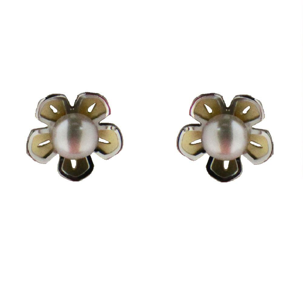 18k two tone pearl flower screwback earrings 0.33 inch pearl 4mm by
