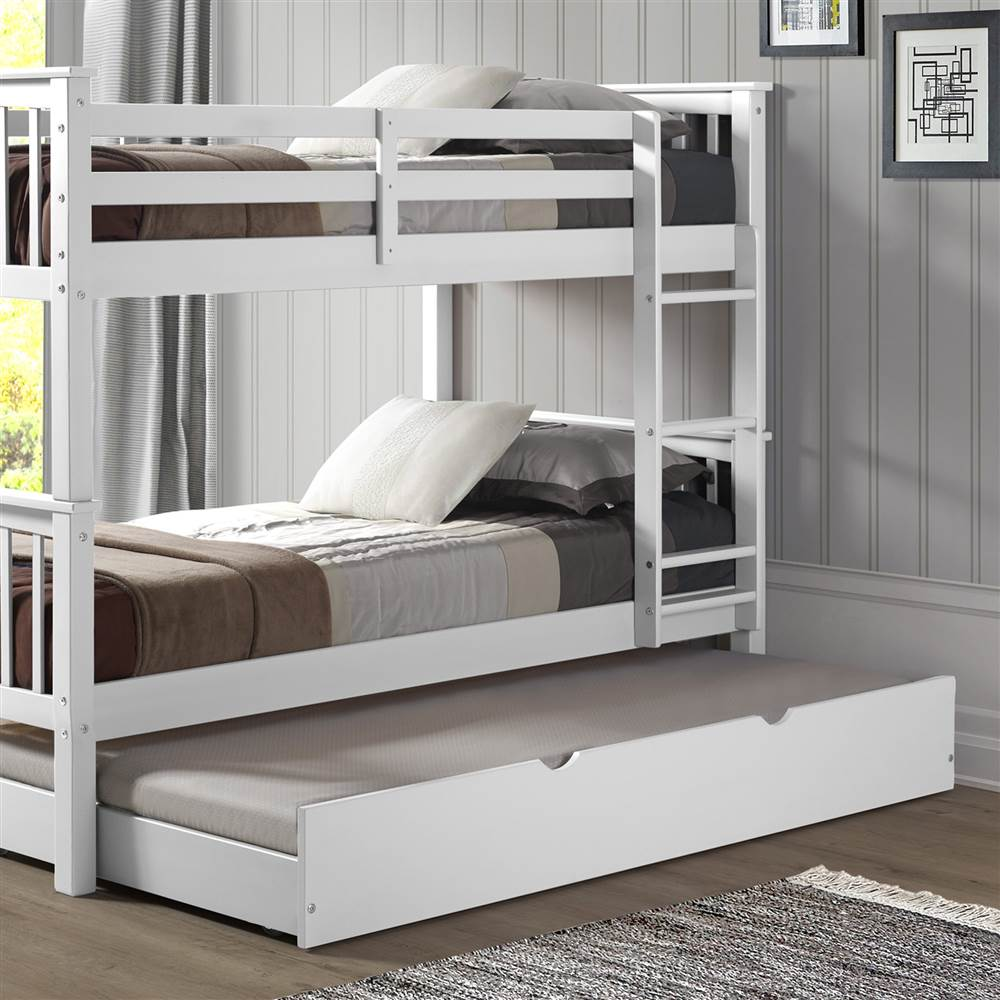Spectacular Solid Wood Twin Trundle Bed in White