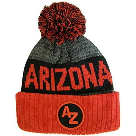 103a741ab74 Arizona AZ Patch Ribbed Cuff Knit Winter Hat Pom Beanie (Red Black Patch) -  Walmart.com