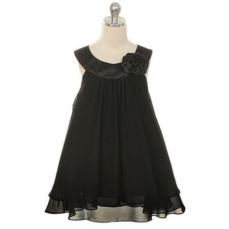 Little Girls Black Chiffon A Line Flower Girl Dress 2](Black Flower Girl Dresses)