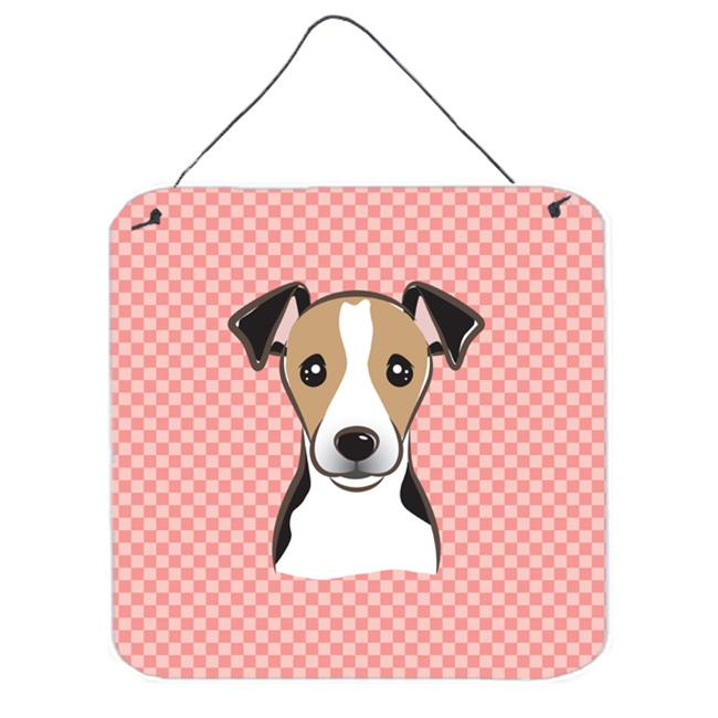Checkerboard Pink Jack Russell Terrier Aluminum Metal Wall Or Door Hanging Prints, 6 x 6 In.
