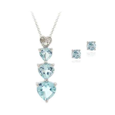 Sterling Silve Blue Topaz and Diamond Heart Necklace and Earrings Set