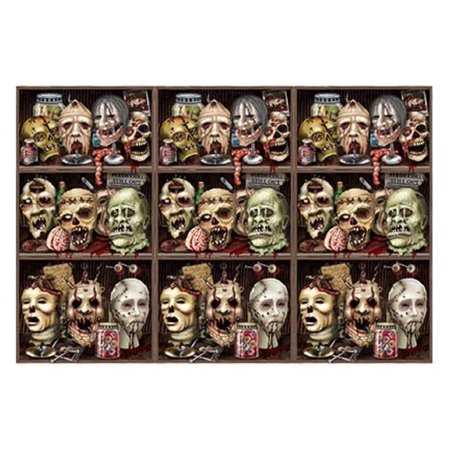 Pack of 6 Insta-Theme Scary Zombie Heads Halloween Wall Backdrop Party Decoration 4' x 30' for $<!---->