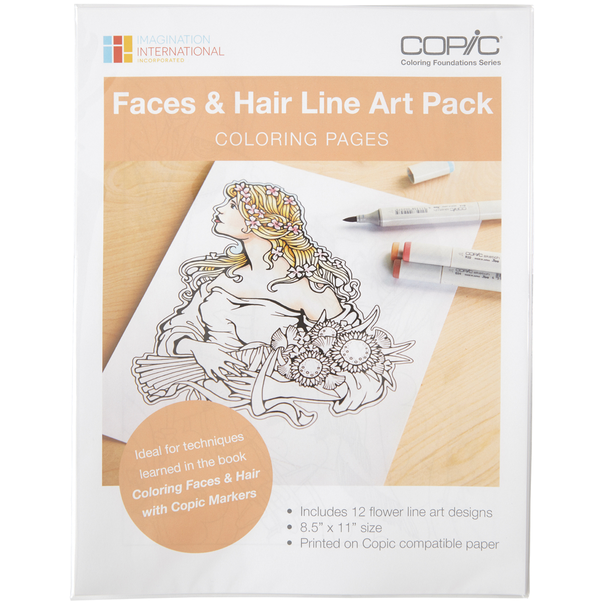 Copic Faces & Hair Art Coloring Pages-