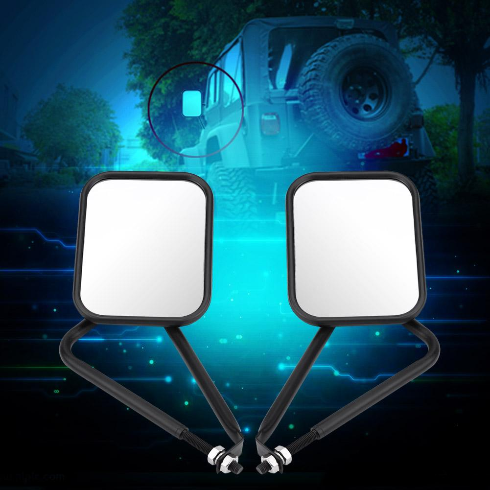 Zerone Side Rear View Mirror 1 Pair Black Rectangular Door Off Shake-Proof Side Rear View Mirror Jeep Wrangler TJ JK JKU CJ 97-17