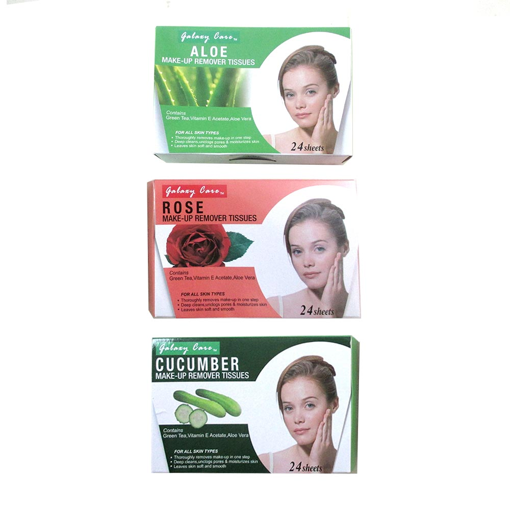 24 X Make Up Remover Cleansing Facial Towelettes Wipes Face Tissues Aloe Vera