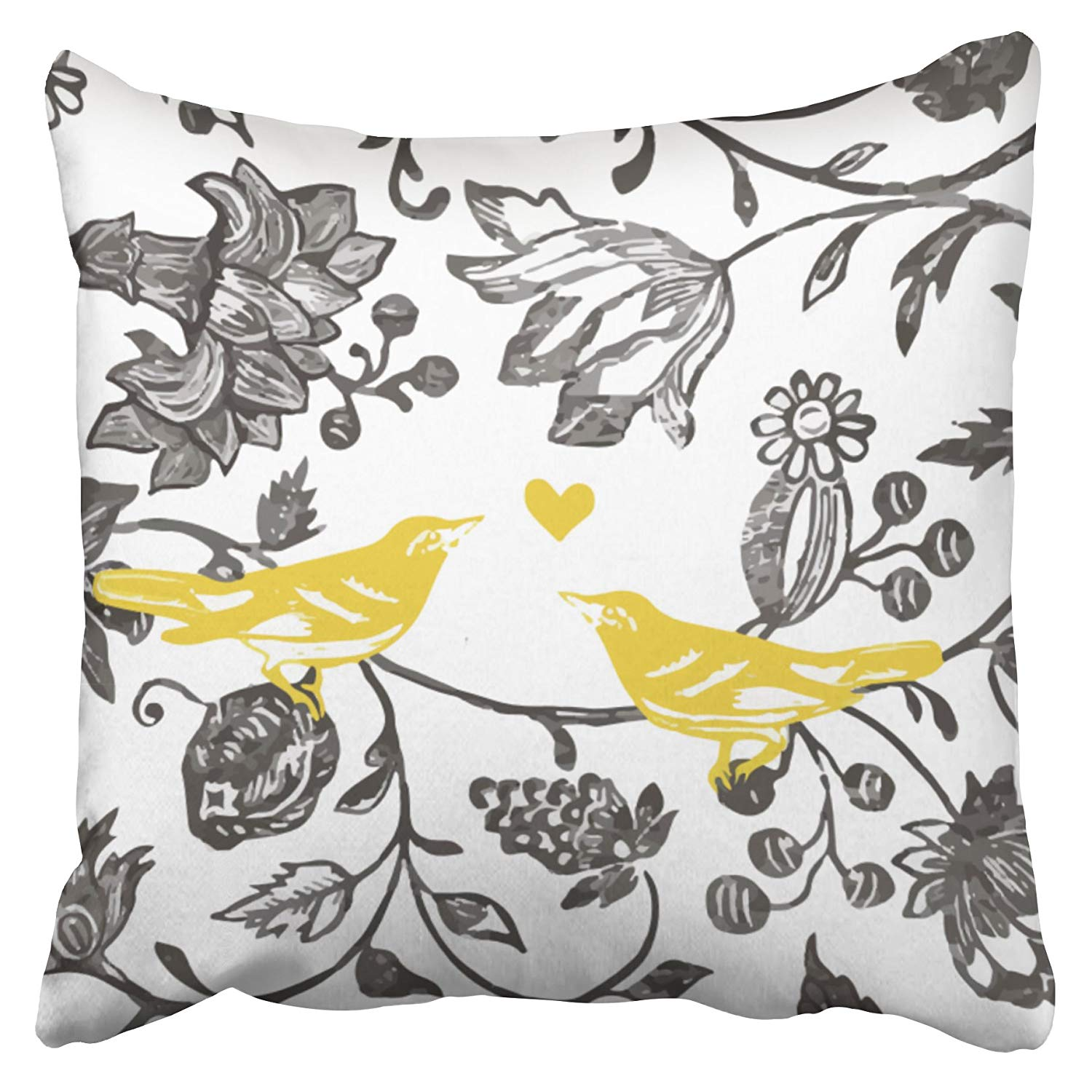 Artjia Trendy Yellow Gray And White Floral Bird Pattern Pillowcase Cushion Cover 18x18 Inch Walmart Com Walmart Com