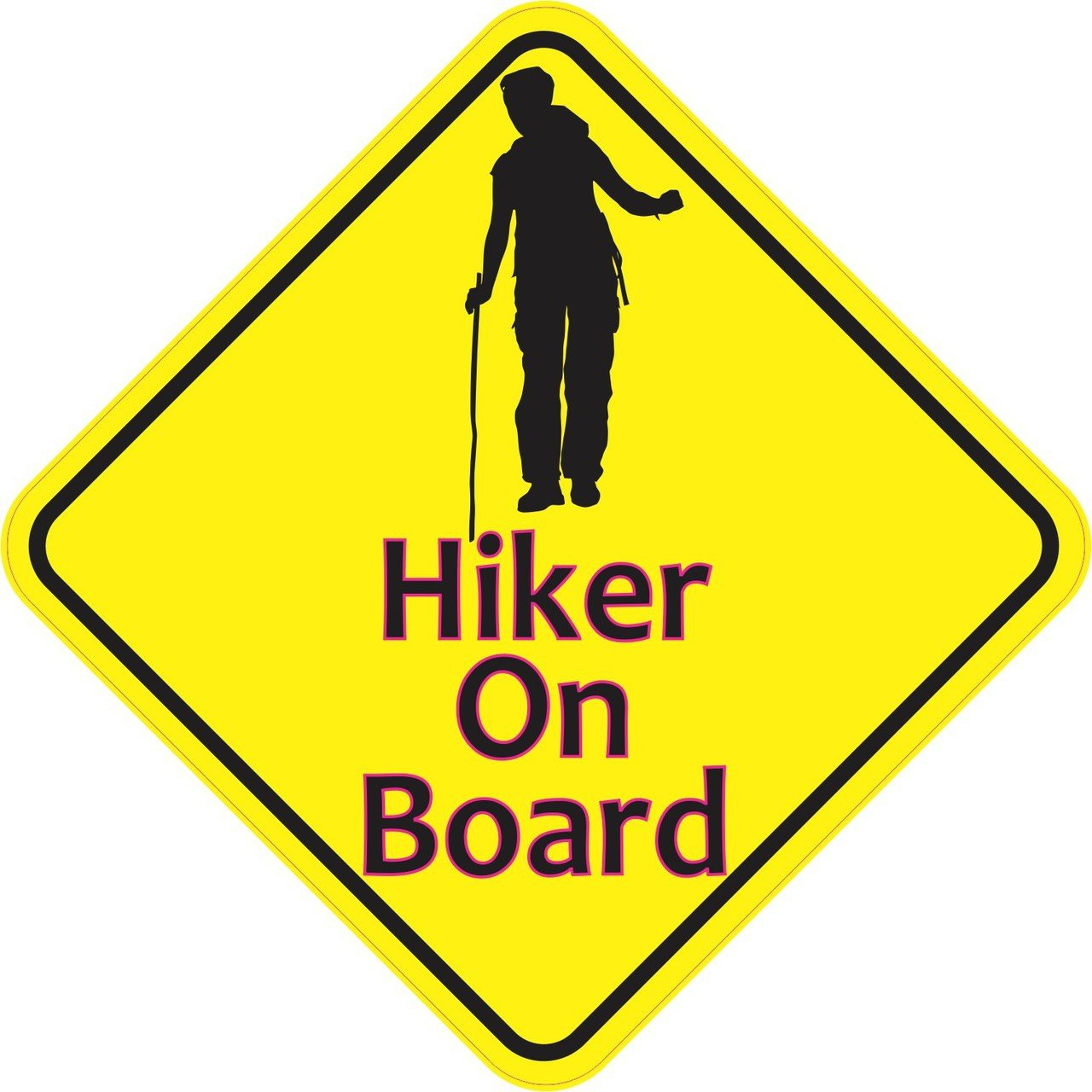 5in x 5in Female Hiker On Board Magnet Vinyl Caution Sign Vehicle Magnets by StickerTalk®