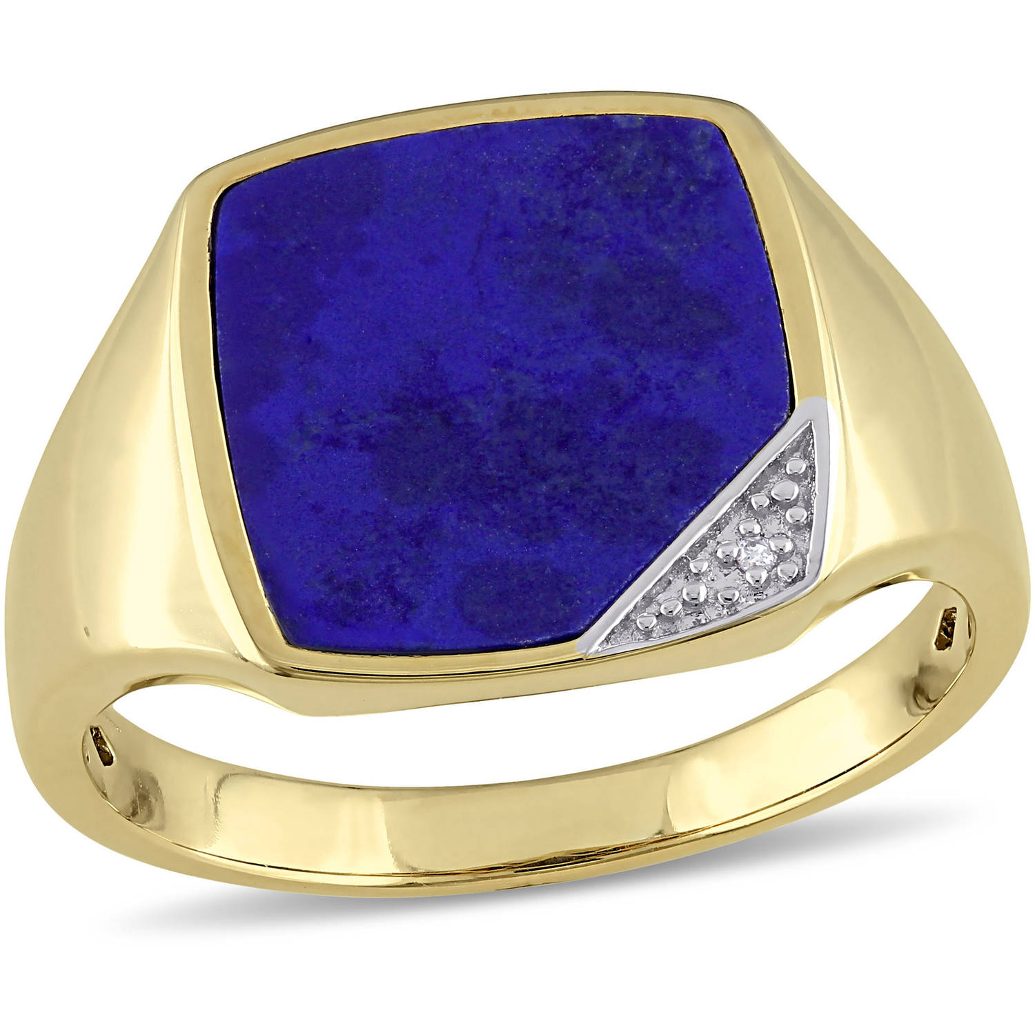 2-3/5 Carat T.G.W. Lapis and Diamond-Accent Yellow Rhodium-Plated Sterling Silver Men's Ring