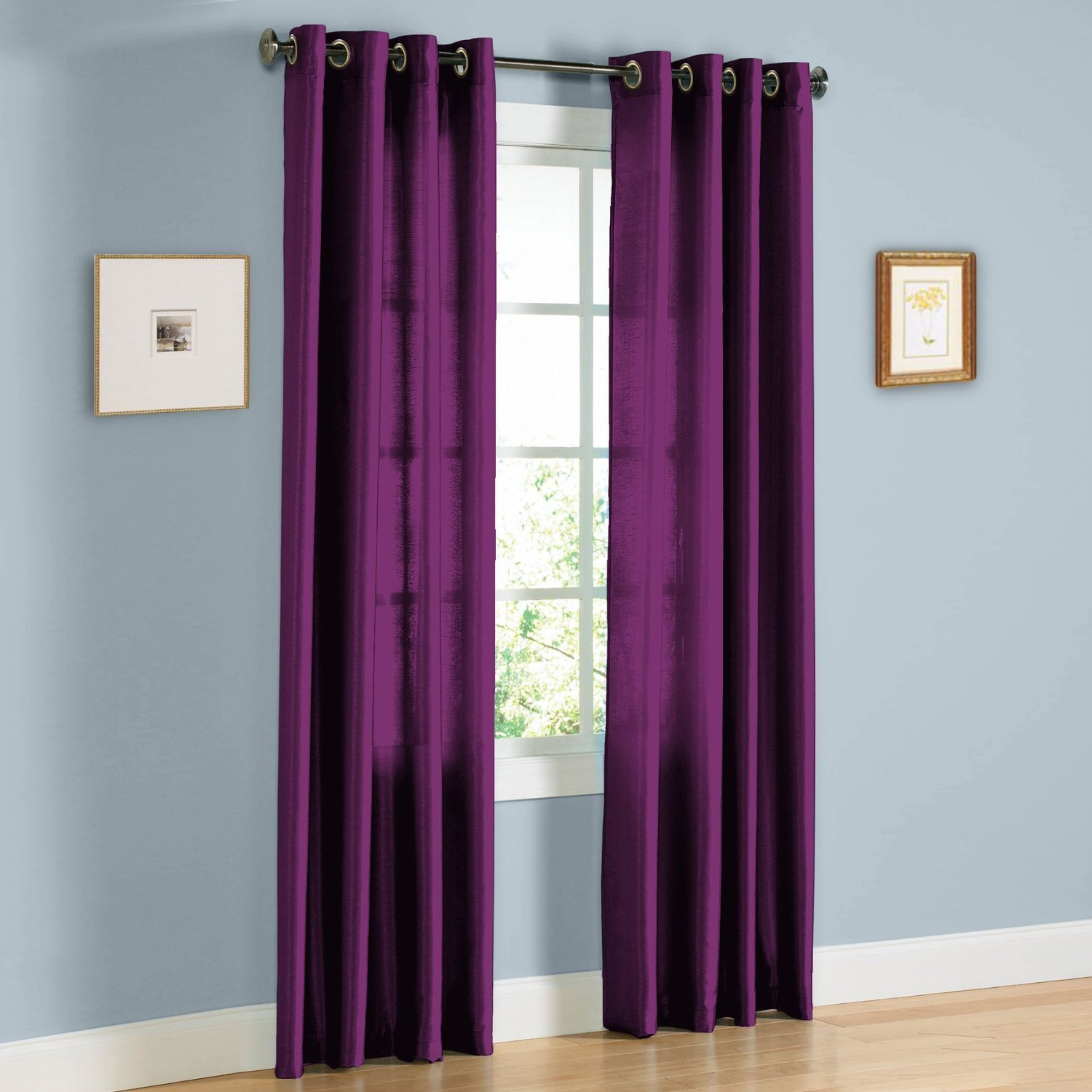 "1 PANEL MIRA  SOLID PURPLE SEMI SHEER WINDOW FAUX SILK ANTIQUE BRONZE GROMMETS CURTAIN DRAPES 55 WIDE X 63"" LENGTH"