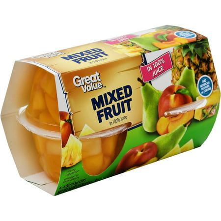 Pineapple Pear - (4 Pack) Great Value Fruit Cup in 100% Juice, Mixed Fruit, 4 oz, 4 ct