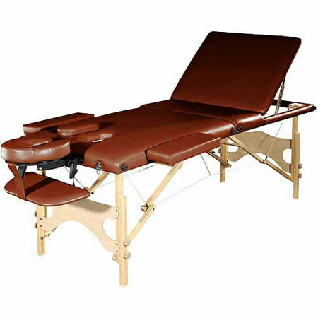 Sivan Health and Fitness Three Fold Reiki Portable Massage Table and Carrying Case, Chocolate