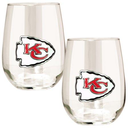 Kansas City Chiefs 15oz. Stemless Wine Glass Set American Classic Wine Set