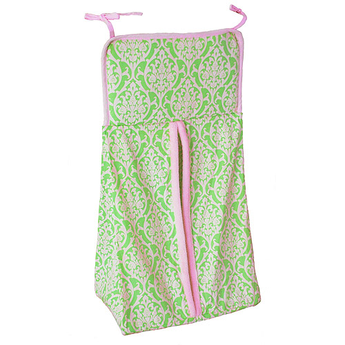 Seed Sprout - Damask Diaper Stacker, Pink and Green
