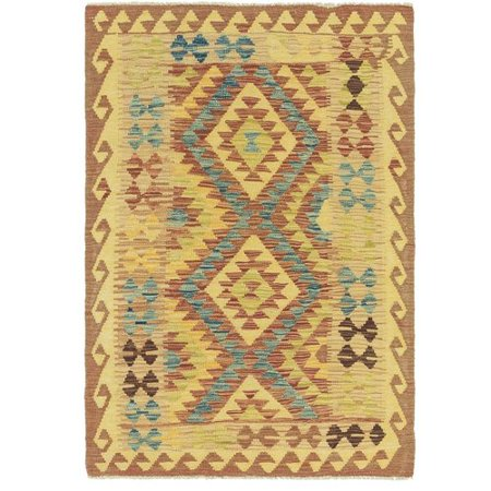 - Isabelline One-of-a-Kind Lorain Hand-Knotted 3'2'' x 4'10'' Wool Brown/Beige Area Rug