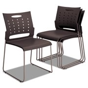 Alera Continental Series Plastic Perforated Back Stack Chair, Charcoal Gray Seat/Back, Gunmetal Gray Base, 4/Carton -ALESC6546