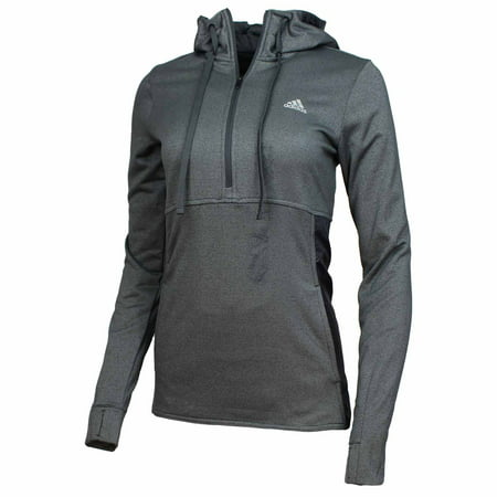 ADIDAS Womens Climawarm Quarter-Zip Transition Hoodie (Grey,