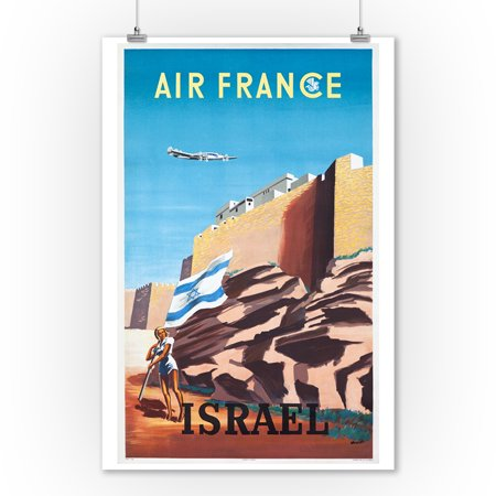 Air France - Israel Vintage Poster (artist: Renluc) France c. 1949 (9x12 Art Print, Wall Decor Travel Poster)