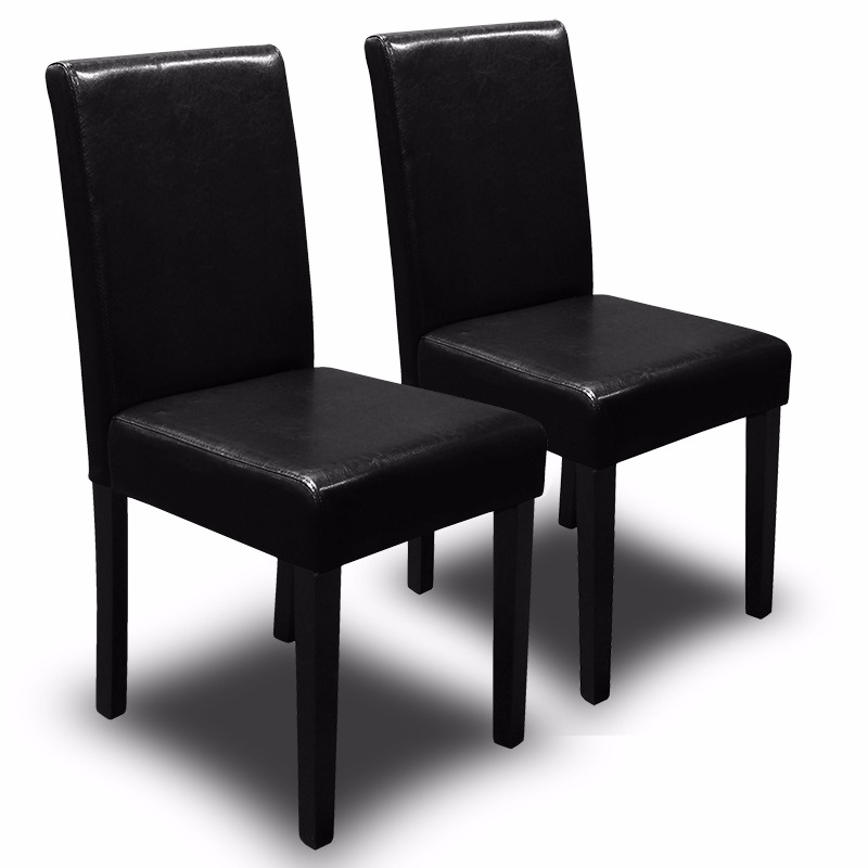 2PC Parson Dining Chair PU Solid Wood Leather Padded, Black