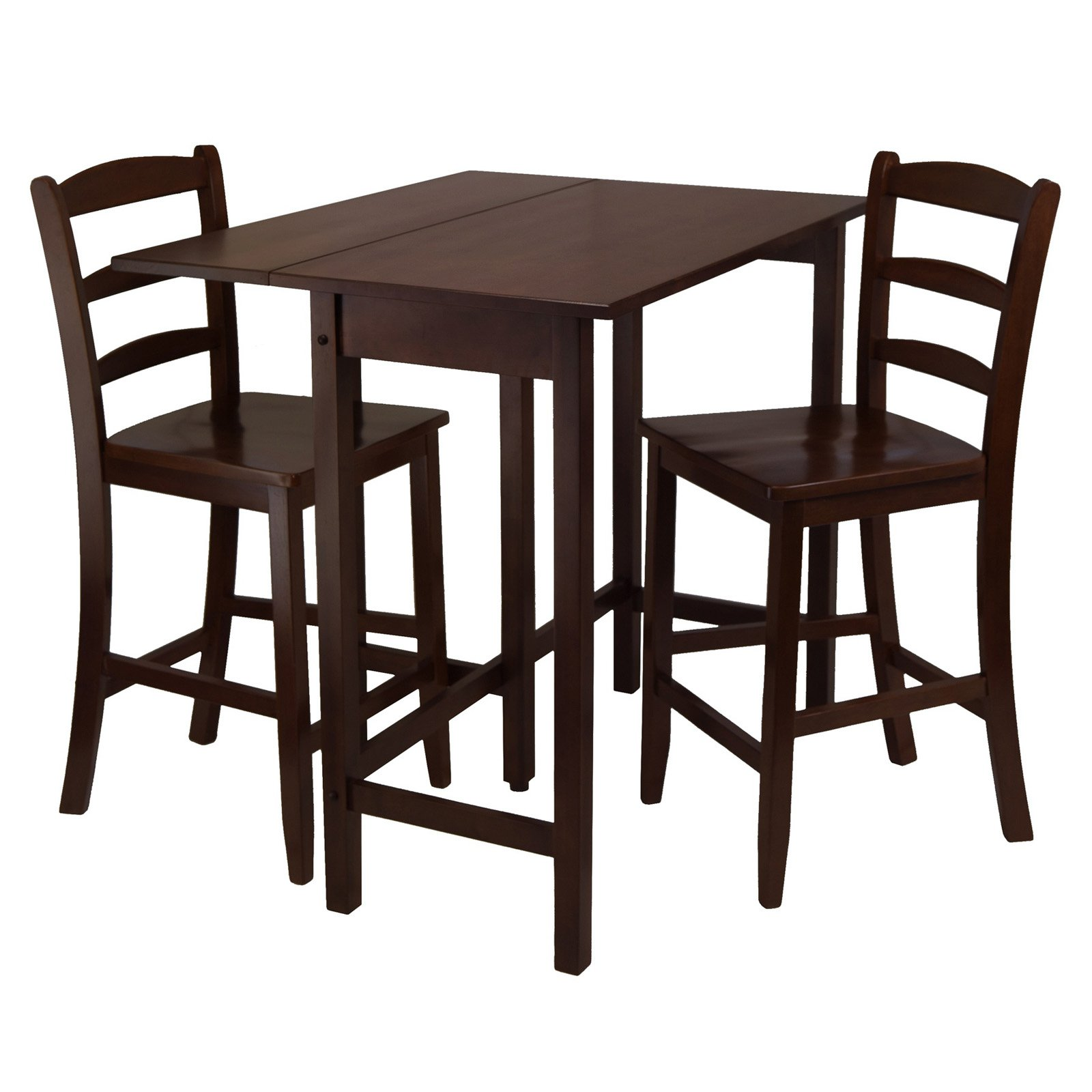Lynnwood 3-Pc Drop Leaf High Table with 2 Counter Ladder Back Stool/Chair