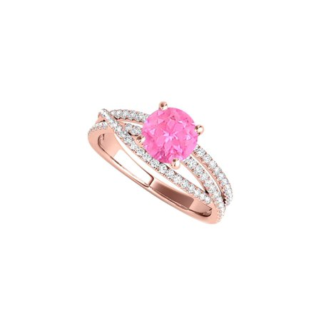 Pink Sapphire 14K Rose Gold Vermeil Ring with CZ (14k Vermeil Ring)