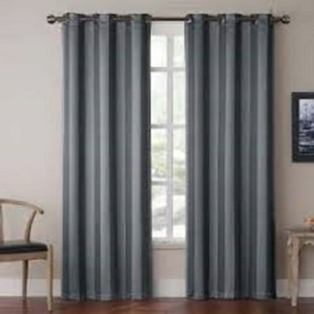- (#72) 1 PANEL CHARCOAL SOLID THERMAL FOAM LINED BLACKOUT HEAVY THICK WINDOW CURTAIN DRAPES BRONZE GROMMETS 84