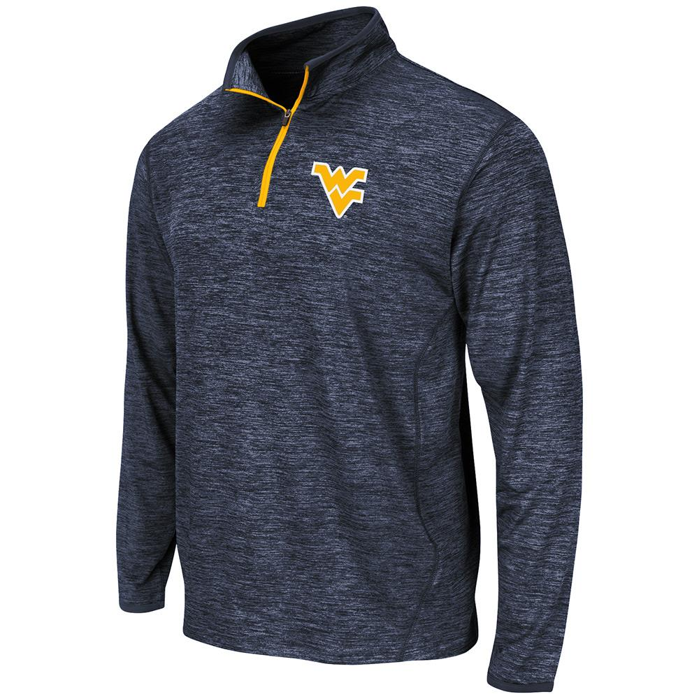 Mens NCAA West Virginia Mountaineers Action Pass Long Sleeve Quarter Zip Tee Shirt by Colosseum
