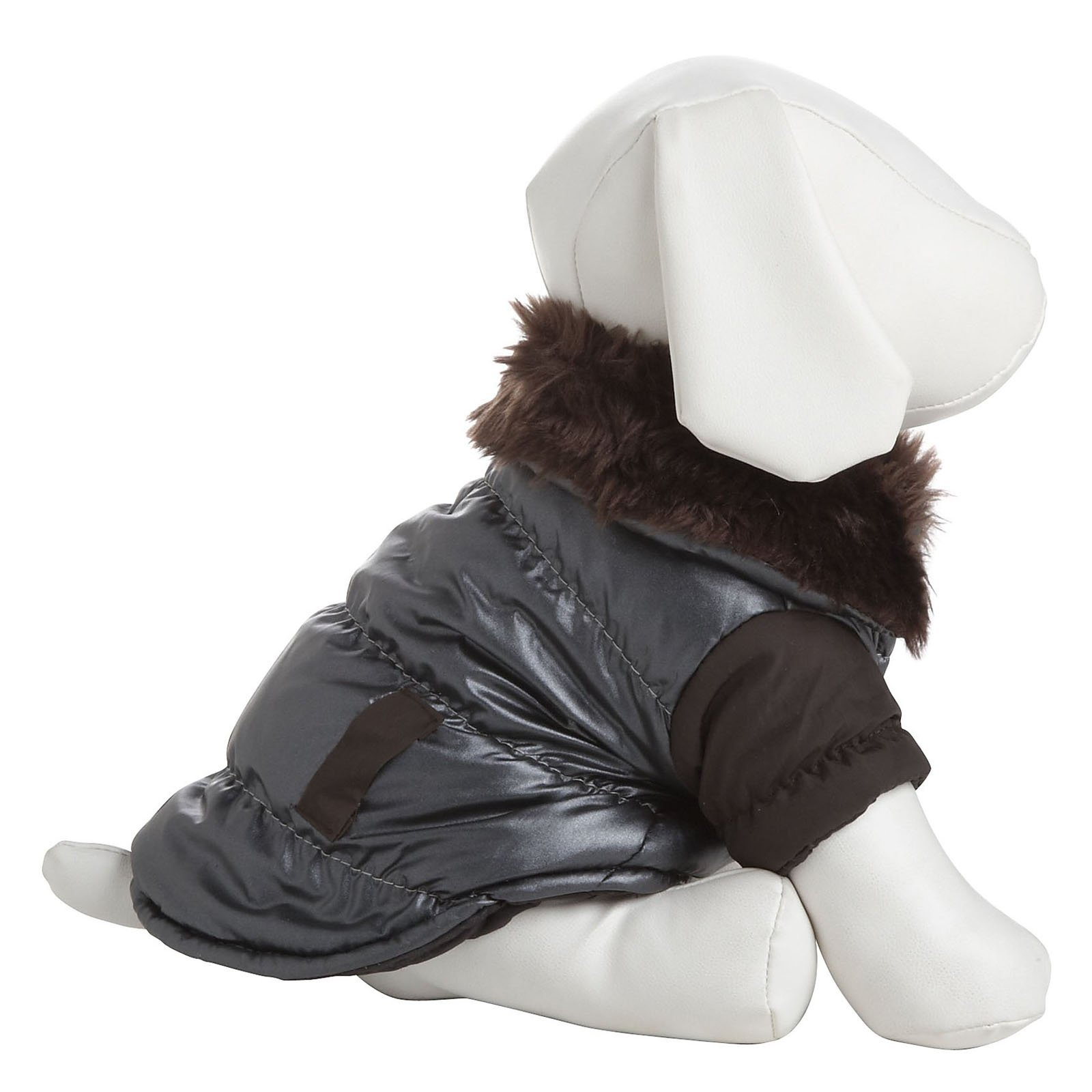 Ultra Fur 'Track-Collared' Metallic Pet Jacket - Metallic Brown - X-Small