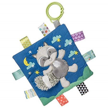 taggies soothing sensory crinkle me toy with baby paper and squeaker, harley raccoon, 6.5 x 6.5-inches crinkle me taggies are 6.5 x 6.5-inches, with a fun animal applique and colorful patterned fabric on the outside, crinkle paper and squeaker on the inside. featuring lots of interactive tags and a flexible loop for attaching to stroller and crib. with truly innovative attributes and small beginnings, taggies has revolutionized and redefined how little ones feel secure and engaged in play. taggies was born when a mom noticed her child's fascination with satin tags, and blossomed into a world of treasured products. exploring taggies textured tags can provide tactile stimulation that babies crave for development and have an amazing calming effect on little ones. taggies signature collection is recognized as the premium line of wonderfully soft and soothing taggies toys made by mary meyer.SKU:ADIB07N15MTBR