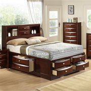 Roundhill Furniture Emily 111 Wood Storage Bed Group with King Bed, Dresser, Mirror, Night Stand and Chest, Merlot