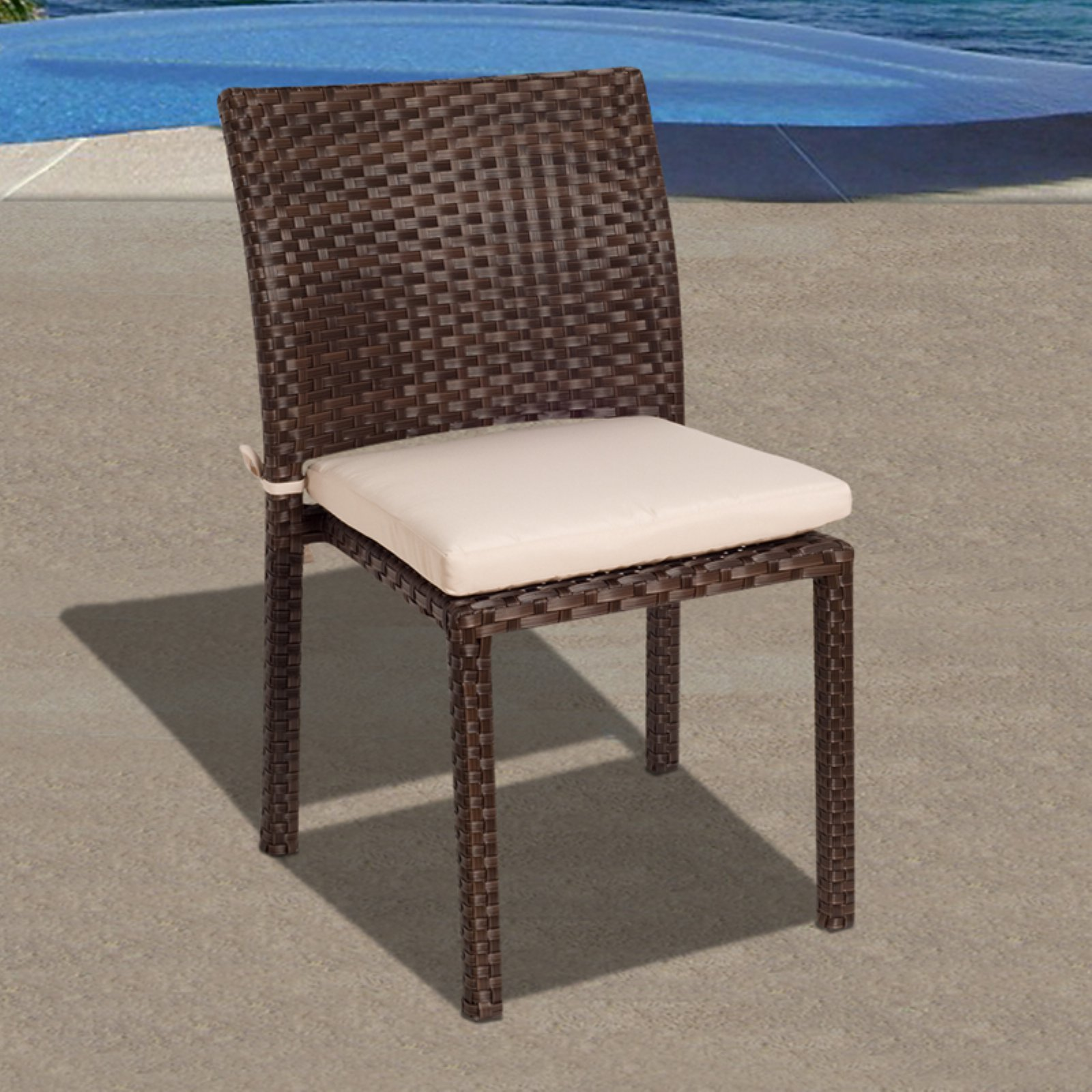 Liberty 4-Piece Wicker Patio Chair Set with Off-White Cushions
