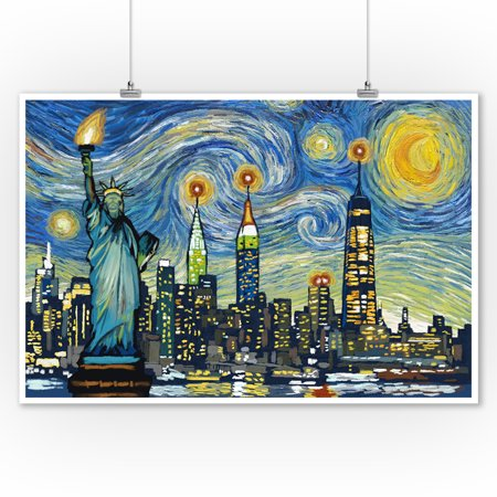 New York City, New York - Skyline - Van Gogh Starry Night - Lantern Press Artwork (9x12 Art Print, Wall Decor Travel Poster)
